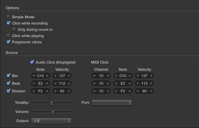 Metronome settings in Logic Pro X